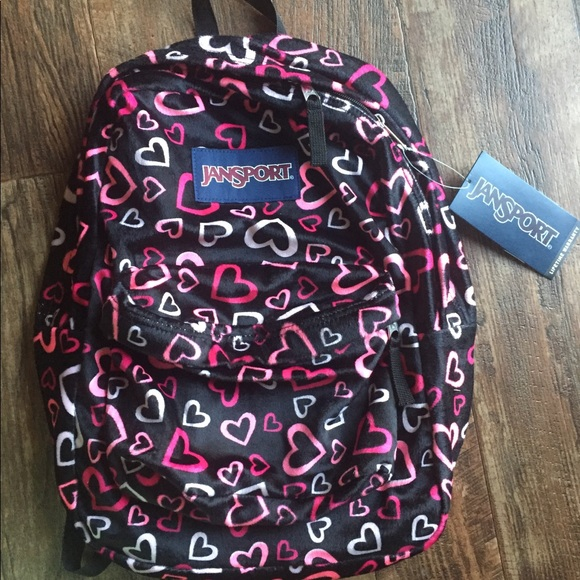 Jansport Bags   Backpack Hearts New Red Pink Black   Poshmark 9a260d9608