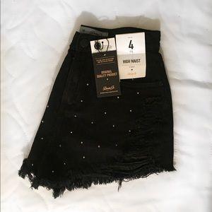 Primark Black Rhinestone Highwaisted Denim Shorts