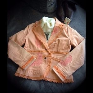 Classically Chic Peach Bead & Lace Blazer