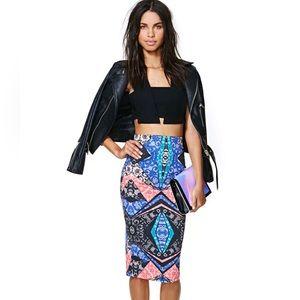 Tribal Abstract Midi Skirt