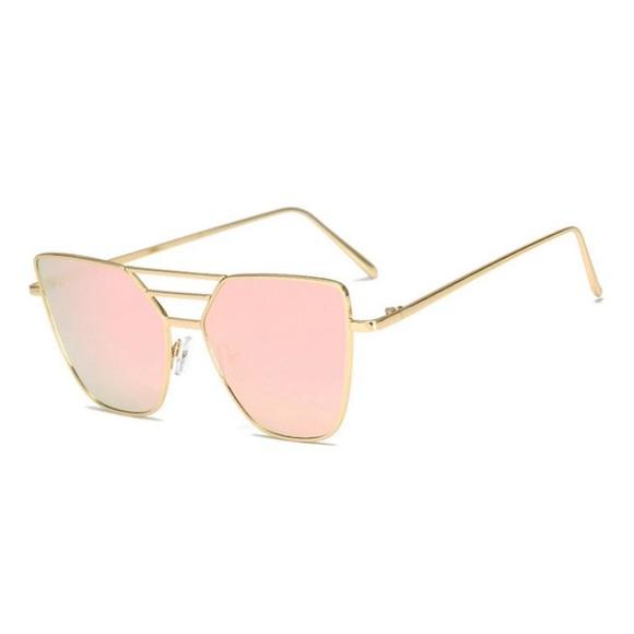 9e6082cc7924 Gold Frame Mirrored Pink Cat Eye Sunglasses