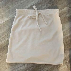 Boohoo velour mini skirt US 4 nude sand jogging