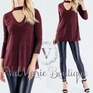 Burgundy Chocker Tunic Top