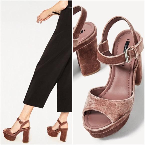 265cc32ae13 NWT ZARA Pink Velvet Platform High Heel Sandals
