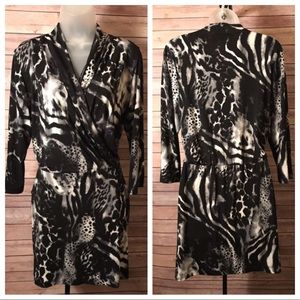 Chico's Animal Print Faux Wrap Dress Size 8 or M