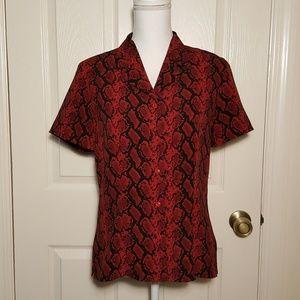 Vintage '90s Red & Black Snakeskin Print Blouse