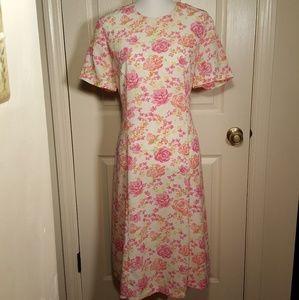 Vintage Swann Floral Rose Midi Shift Dress