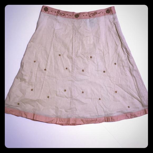🎈ANTHRO Cream Embroidered Flare Skirt [SK-34]