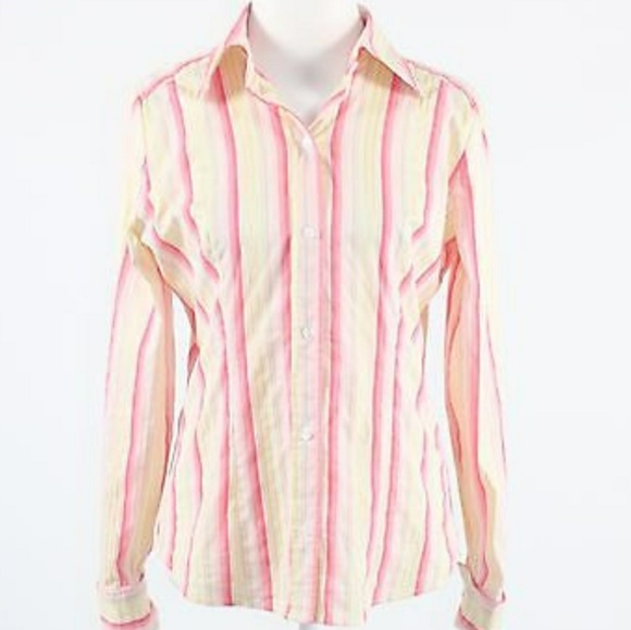 2d4c38b5 New York & Co. Pink yellow striped button down. M_59785d38bcd4a7b978017024