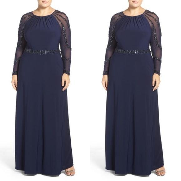 50% off Marina Dresses & Skirts - MARINA CHIFFON SLEEVES NAVY BLUE ...