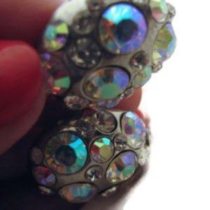 Chunky Blue glass Aurora Borealis PIERCED earrings