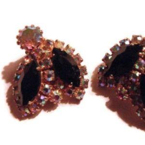 Weiss black and aurora borealis clip earrings