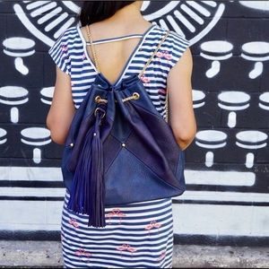NOW AVAILABLE! Color block backpack/tote in blue.