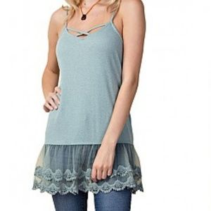 Tops - Caged long lace trim tank top