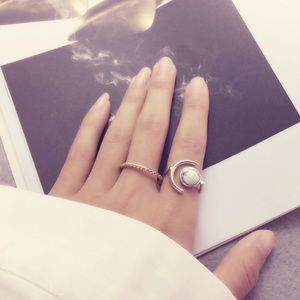 Crescent Moon Marble Sterling Silver Ring