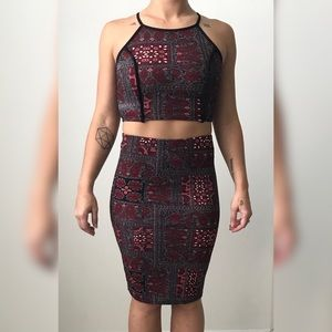 Dresses & Skirts - Red and Black Paisley Print Crop Top and Midi Set
