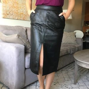 Dresses & Skirts - Real Leather Midi Skirt with Front Slit