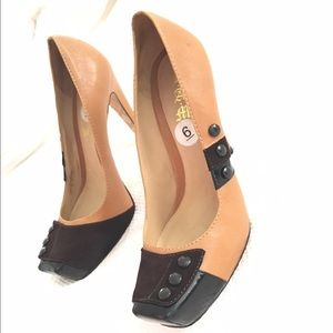 L.A.M.B camel leather, brown suede, black patent