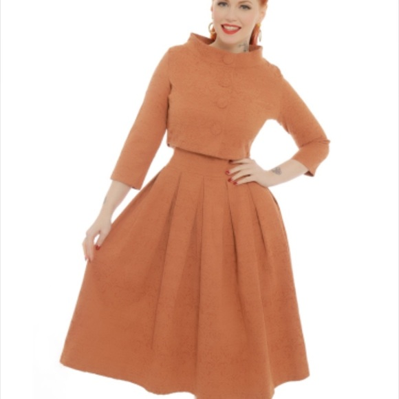 763d7ce1344 Marianne  Caramel Swing Dress and Jacket Twin Set