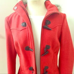 Red Toggle Coat with Fur Lined Hood