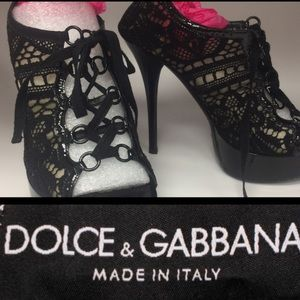 Sheer Black Lace Dolce&Gabbana Lace Up Shoes-9