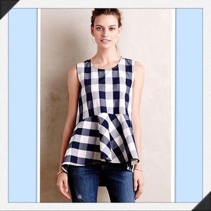 ISO Checked Poplin Peplum Top
