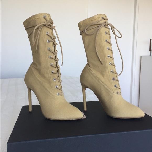 dac22c114831 Yeezy season 4 NWT beige dollar lace up boots