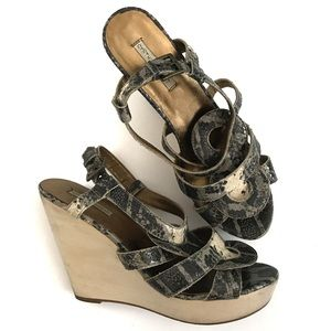 Cynthia Vincent Bryna Snakeskin Wedge Sandals 8.5