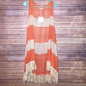 A'reve Fringe Lace Long Vest Size Small