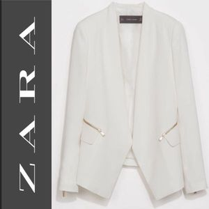 Zara White Blazer Zipper Pockets