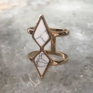 Minimalist Chic Gold Marble Double Ring