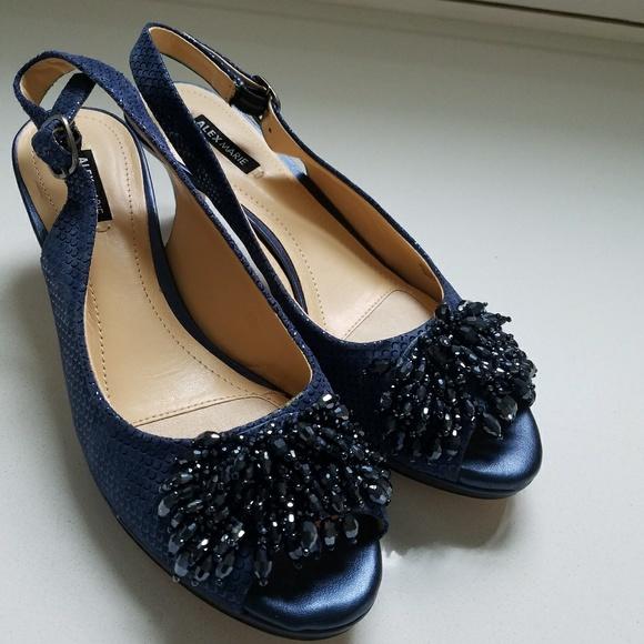7aa98d13ac1 Alex Marie Shoes - Metallic Blue Beaded Accent Suede Peep Toe Heels