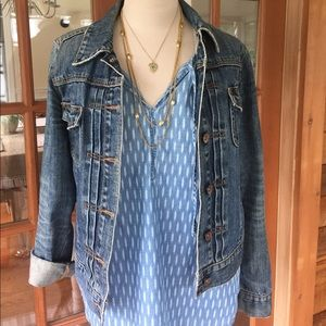 Sonoma Ikat Pattern Chambray Sleeveless Top