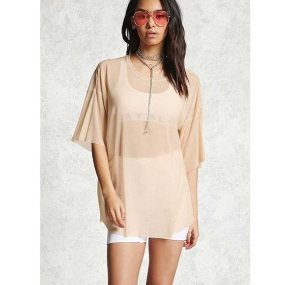 091dc6d0dd2 Zara Tops | Mesh Sheer T Shirt Nude Top Tan Brown Tee | Poshmark
