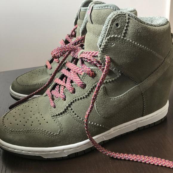 46dab225e3a Olive Green Suede Nike Wedge Sneakers. M 5978c782b4188e4777026802