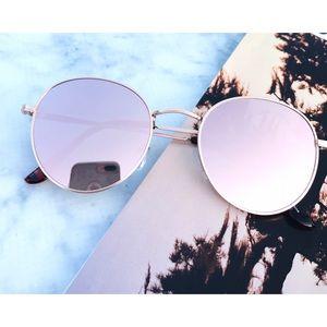 Accessories - Rose Gold Round Mirrored Sunglasses