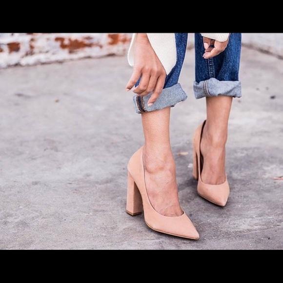 60733d34314 Steve Madden Primpy nude suede heels