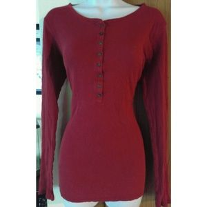 Red Old Navy Henley Long Sleeve Shirt