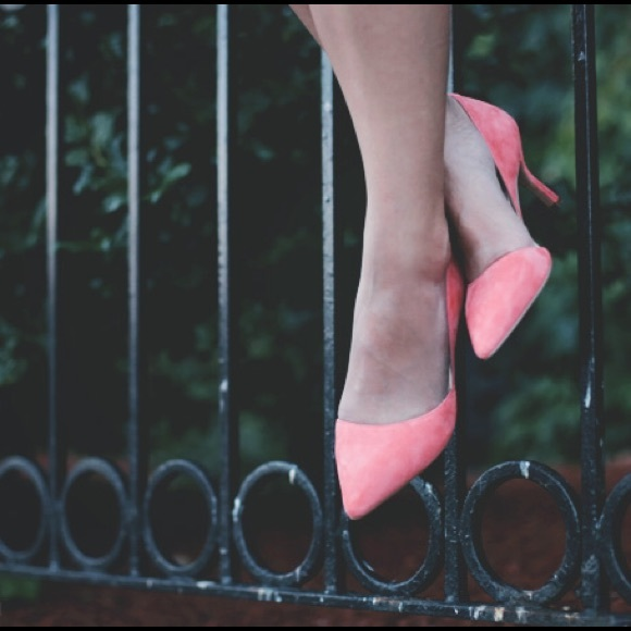 Sole Society Shoes - Coral suede d'orsay low court heels