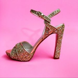 Glitter Platform Open Toe Heel