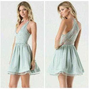 Bebe Lace Back Metallic Stripe Cocktail Dress