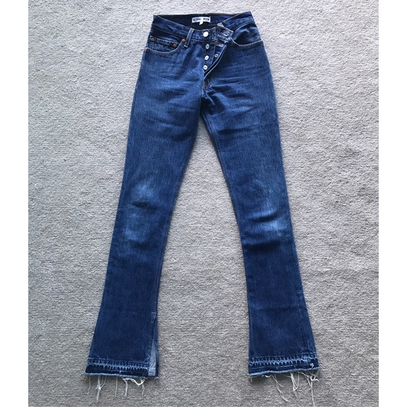 Re/done By Levis Woman Elsa High-rise Flared Jeans Mid Denim Size 23 Re/Done mxTn1zD7N
