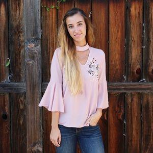 floral patch blouse