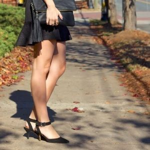 Sole Society Shoes - Black suede d'orsay low court heels w/ ankle strap