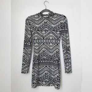 Dresses & Skirts - Navy Blue & White Tribal Print Bodycon Dress
