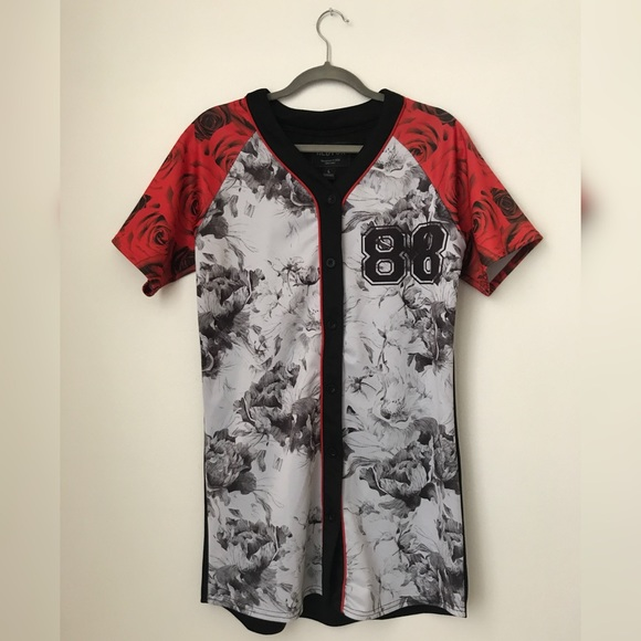 oversized baseball shirt dress