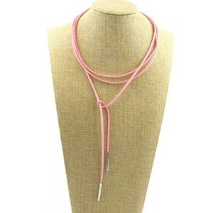 Jewelry - 5/$25 Pink string necklace choker tie w/ metal tip