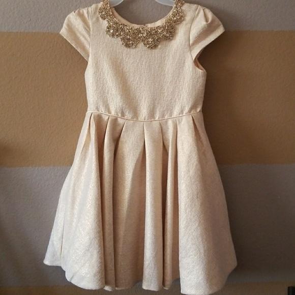 ba01ca524c2 Biscotti Other - Kate Mack-Biscotti gold cap sleeve bib dress