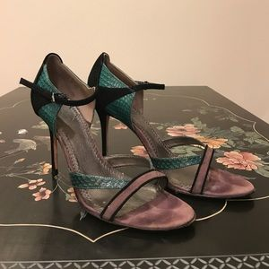 Sexy strappy heels. Colorful suede & snakeskin.