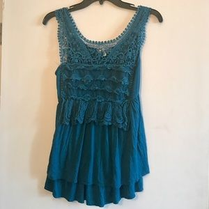 Moa Moa Tops - Lacey tank top in teal
